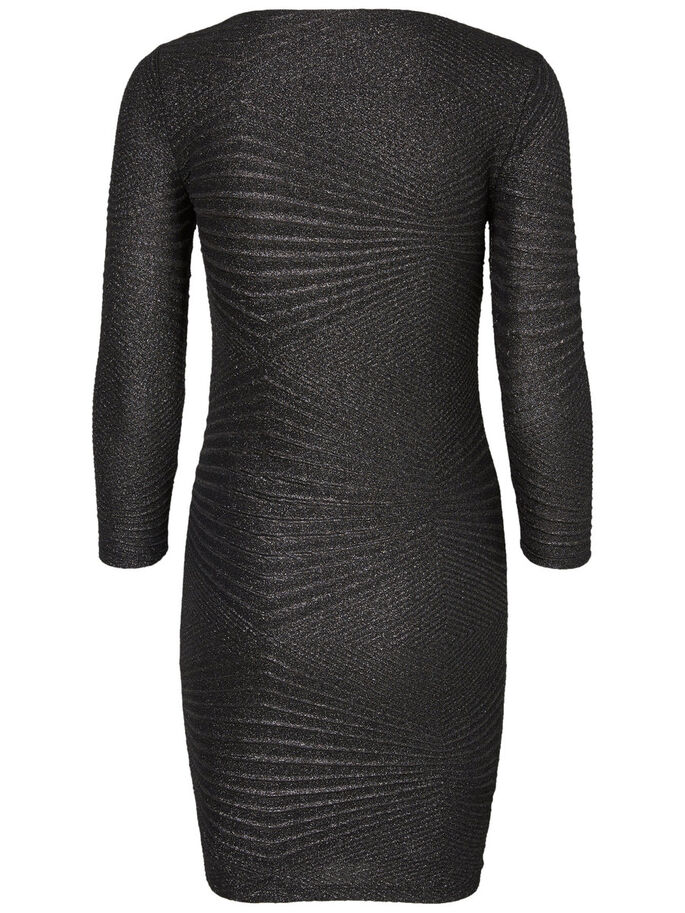 3/4 SLEEVED SHORT DRESS, Black, large