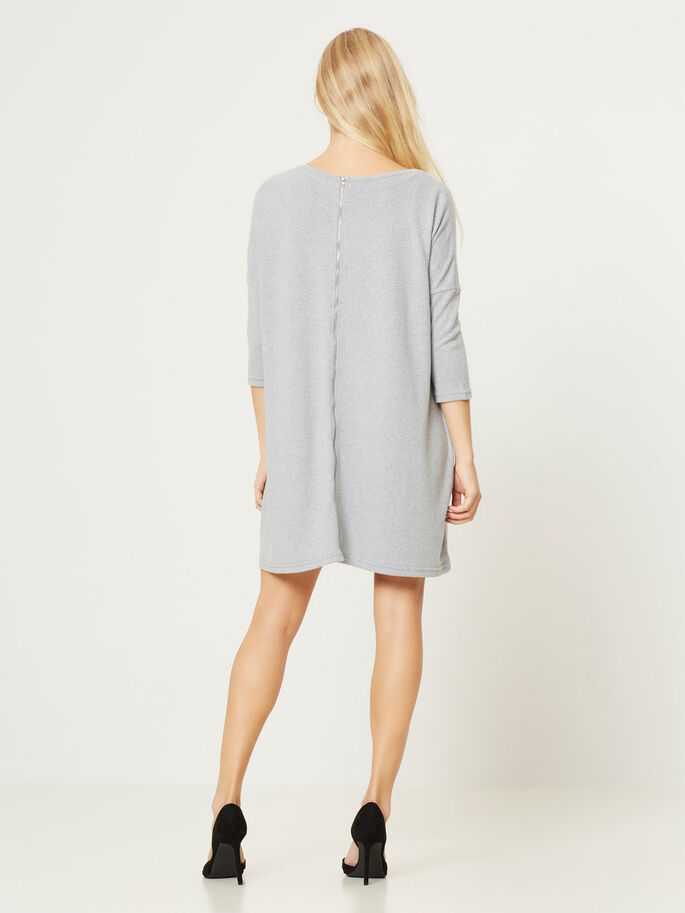 OVERSIZE FIT KORT KLÄNNING, Light Grey Melange, large