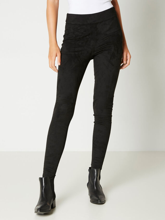 FAUX SUEDE HW TROUSERS, Black, large