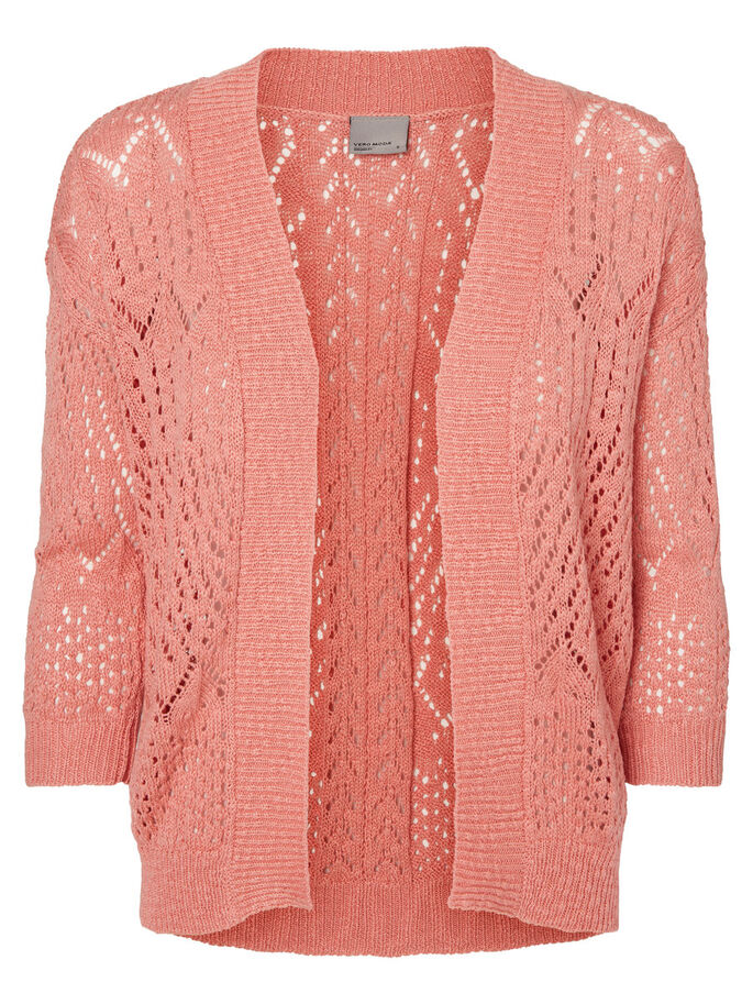 KNITTED CARDIGAN, Salmon Rose, large