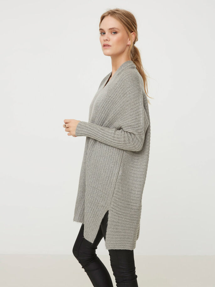 LONG CARDIGAN EN MAILLE, Light Grey Melange, large