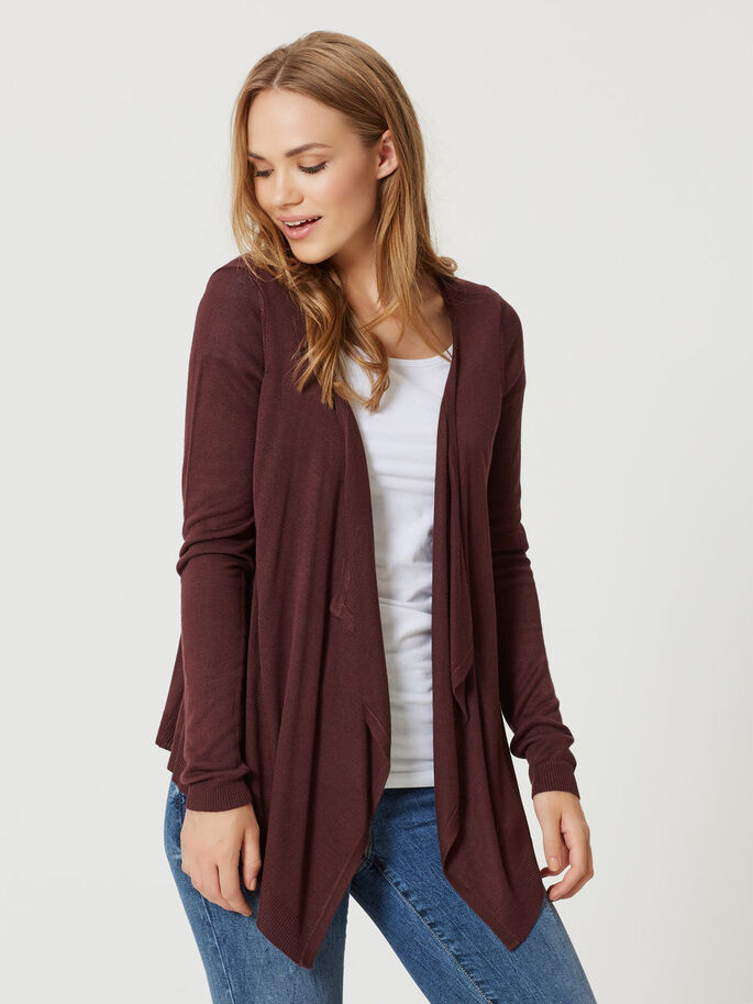 LONG SLEEVED CARDIGAN, Decadent Chocolate, large