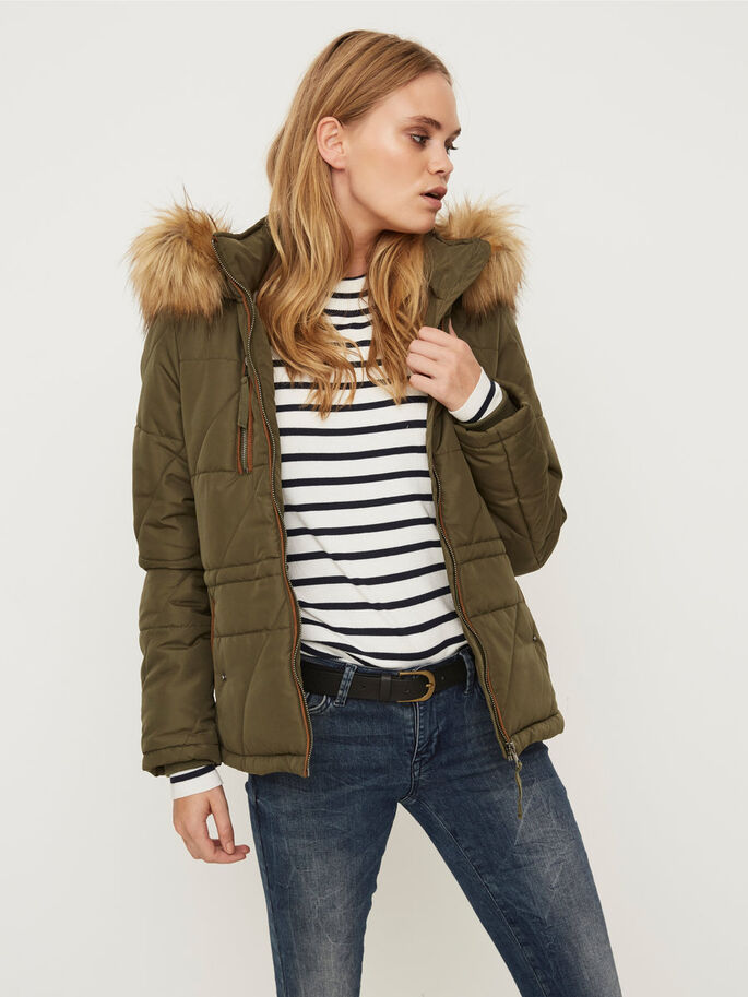 SHORT PARKA COAT, Ivy Green, large
