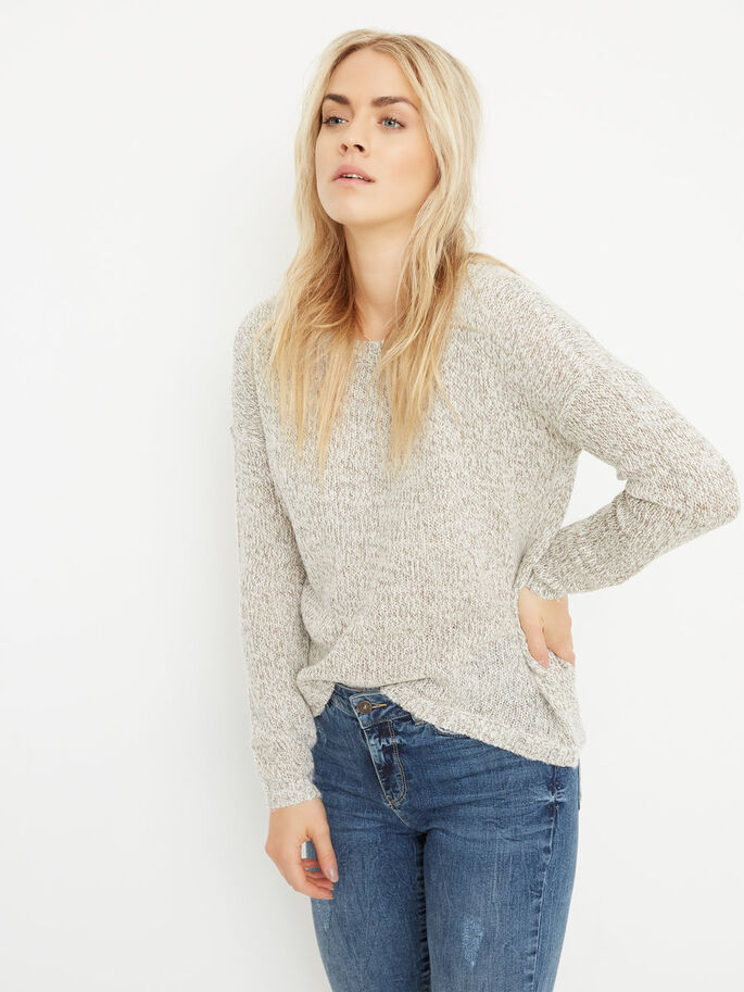 KNITTED PULLOVER, Oatmeal, large