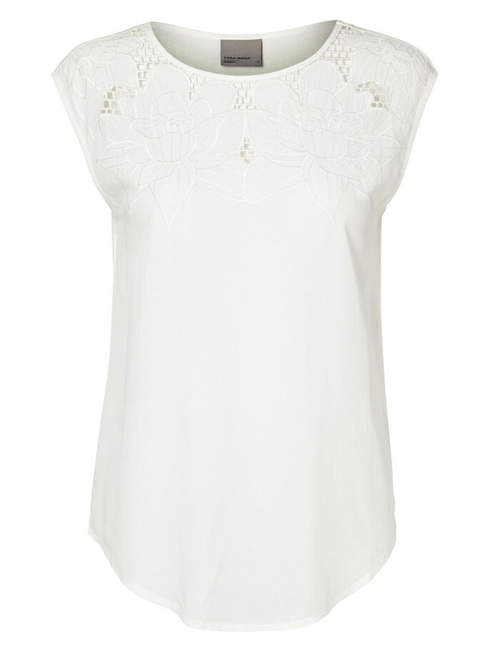 EMBROIDERED SLEEVELESS TOP, Snow White, large