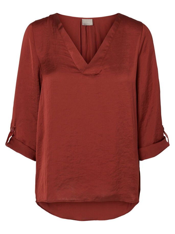 FEMININE 3/4 SLEEVED BLOUSE, Fired Brick, large