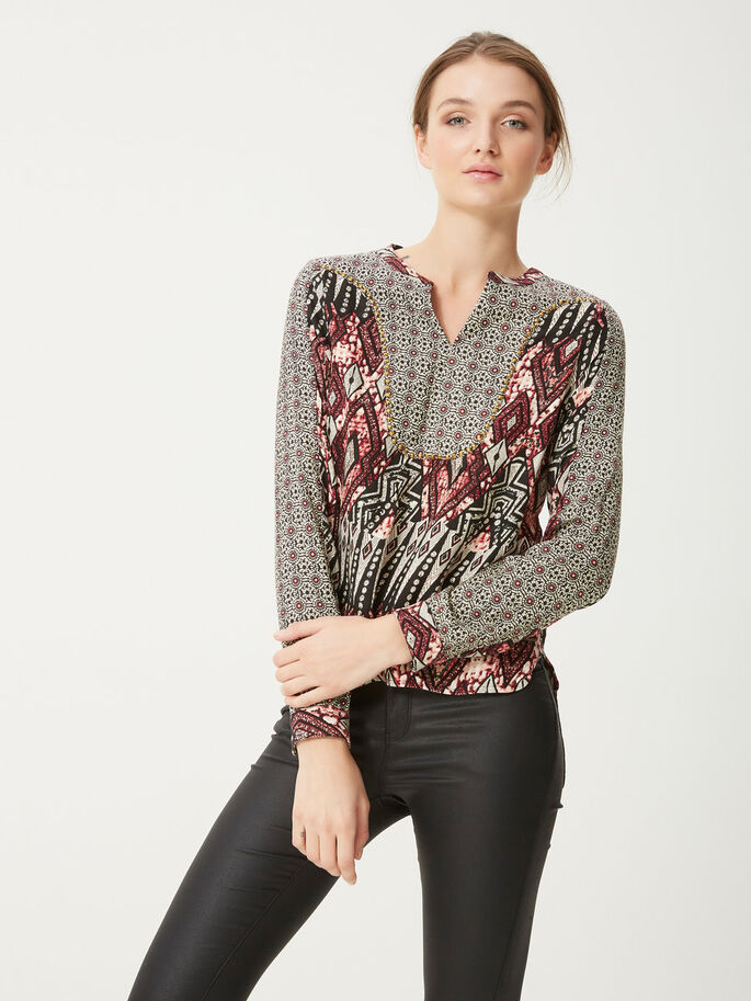 DETAILED LONG SLEEVED TOP, Beaujolais, large