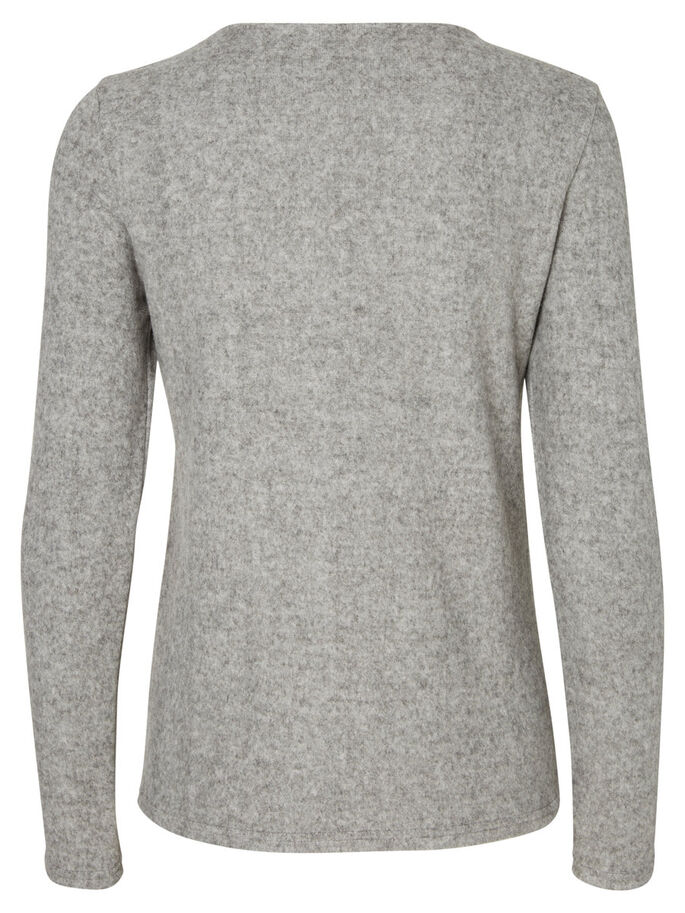 CASUAL SHIRT MET LANGE MOUWEN, Light Grey Melange, large