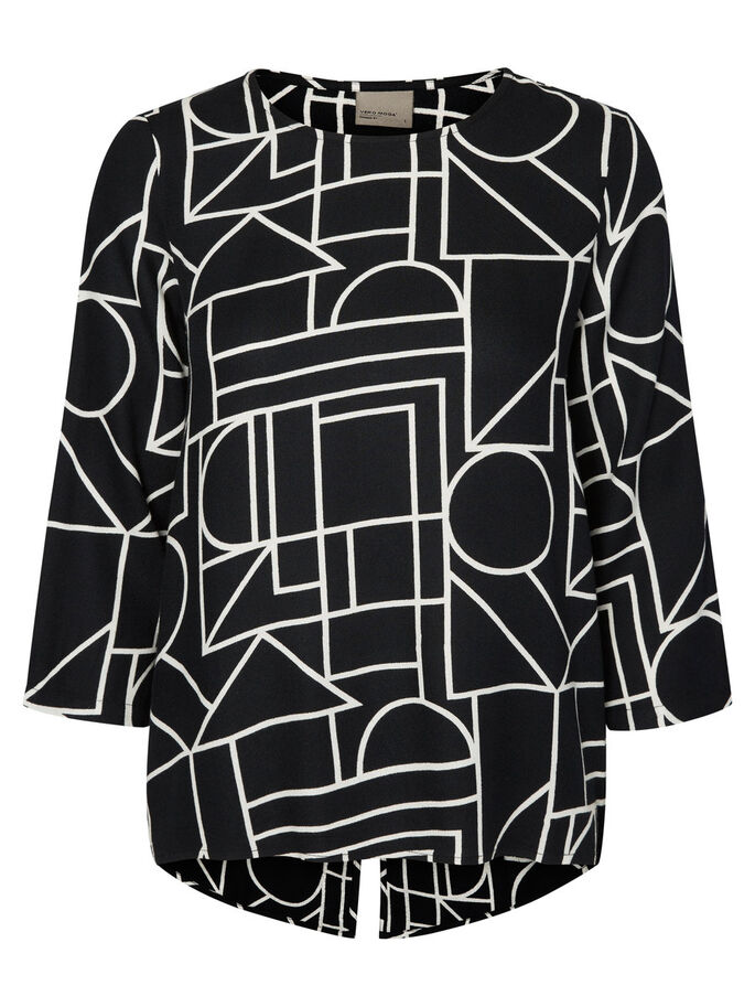 GRAPHIC LONG SLEEVED BLOUSE, Black, large