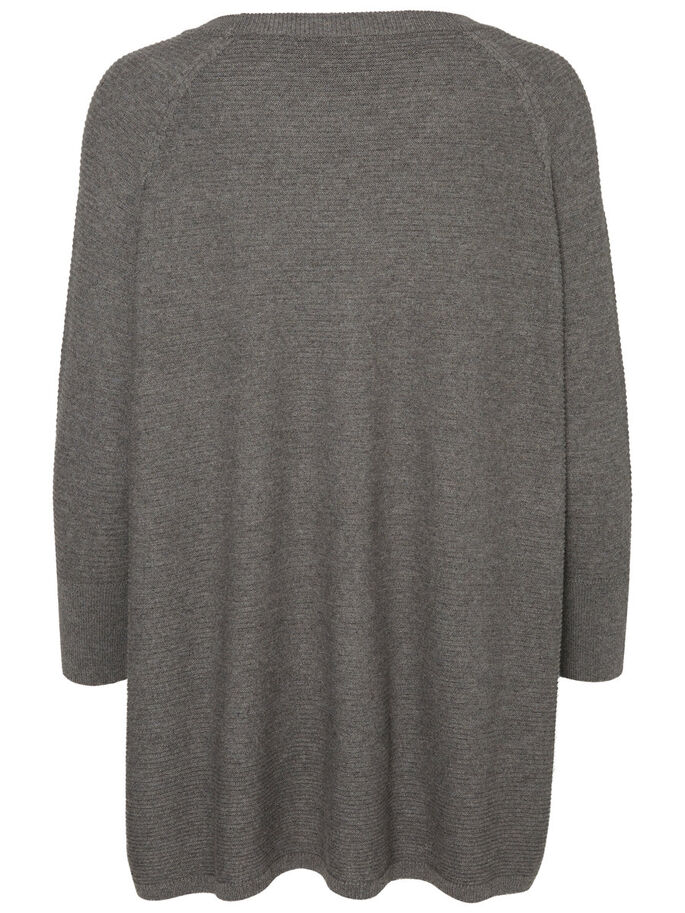 LOOSE FIT KNITTED PULLOVER, Medium Grey Melange, large