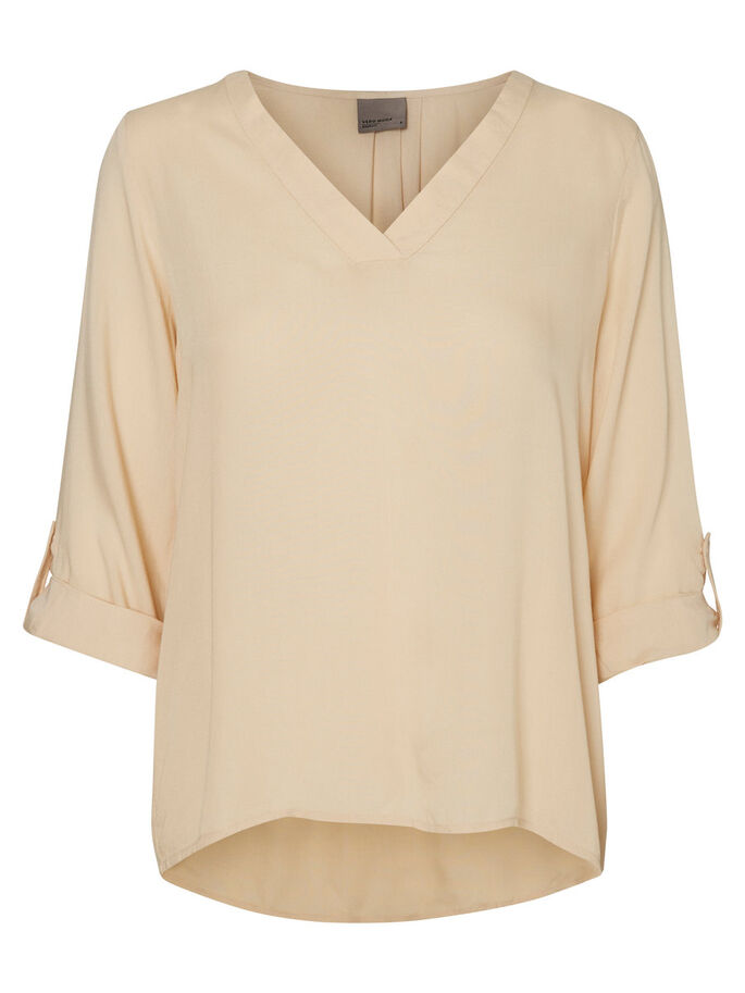 FEMININE 3/4 SLEEVED TOP, Ivory Cream, large