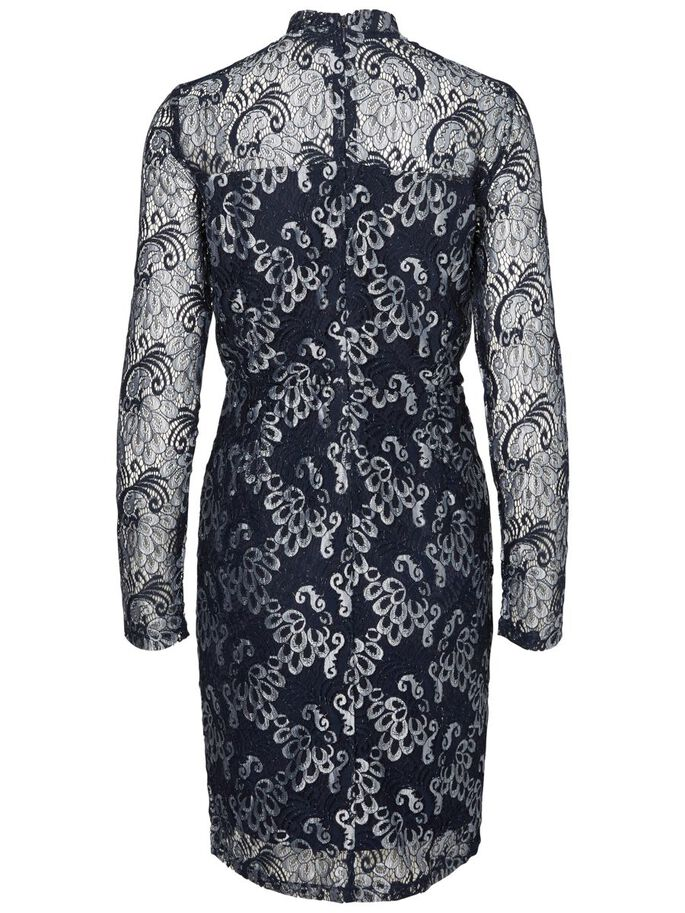 LACE LONG SLEEVED DRESS, Medieval Blue, large