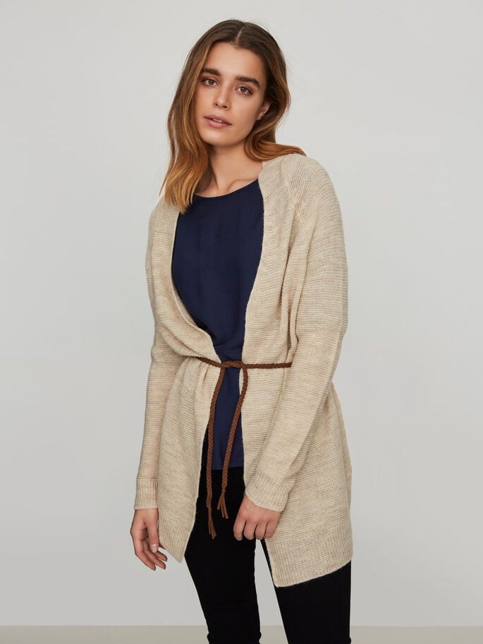LONG CARDIGAN EN MAILLE, Oatmeal, large