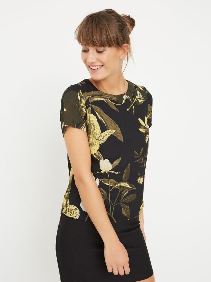 FLOWER 2/4 SLEEVED BLOUSE, Black, large