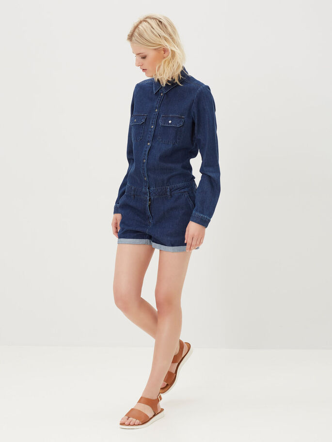 DENIM PLAYSUIT, Dark Blue Denim, large