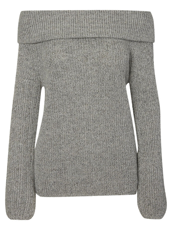 OFF-SHOULDER STRIKKET PULLOVER, Medium Grey Melange, large