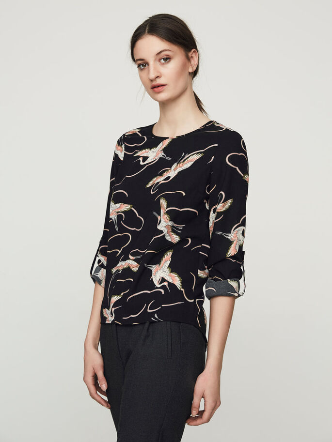 CLASSIC 3/4 SLEEVED BLOUSE, Black Beauty, large