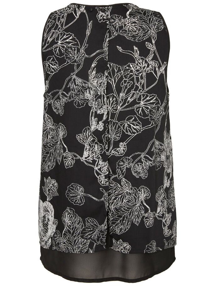 FLOWER SLEEVELESS TOP, Black, large