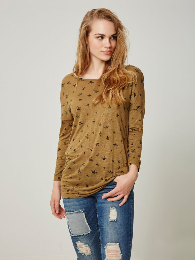CASUAL 3/4 SLEEVED BLOUSE, Kangaroo, large