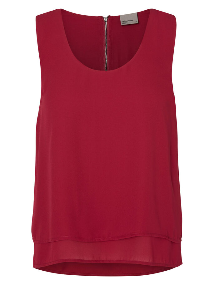 FEMININE SLEEVELESS TOP, Beet Red, large