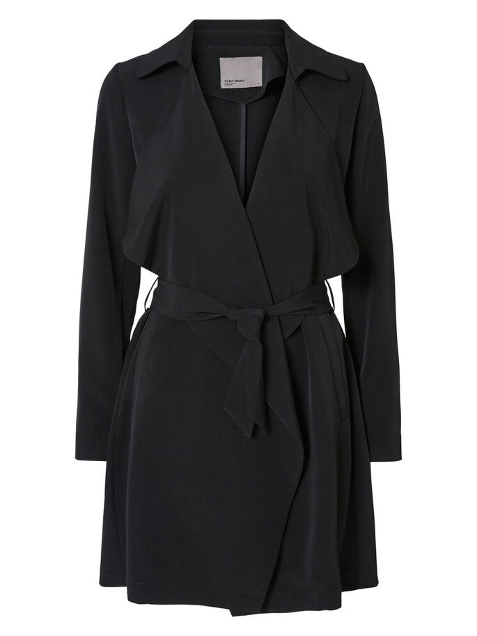 DRAPED TRENCHCOAT, Black, large