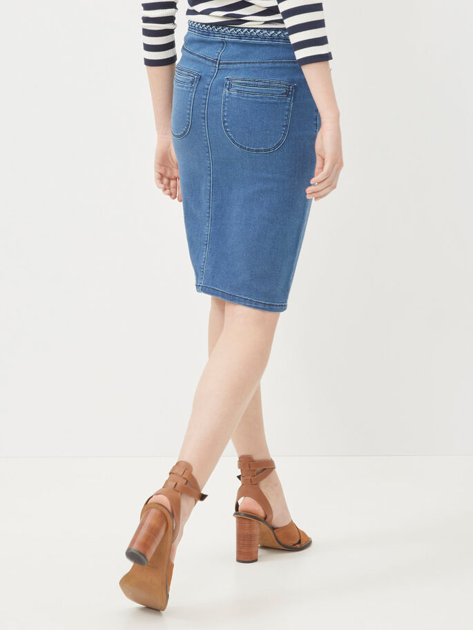 DENIM PENCIL SKIRT, Medium Blue Denim, large
