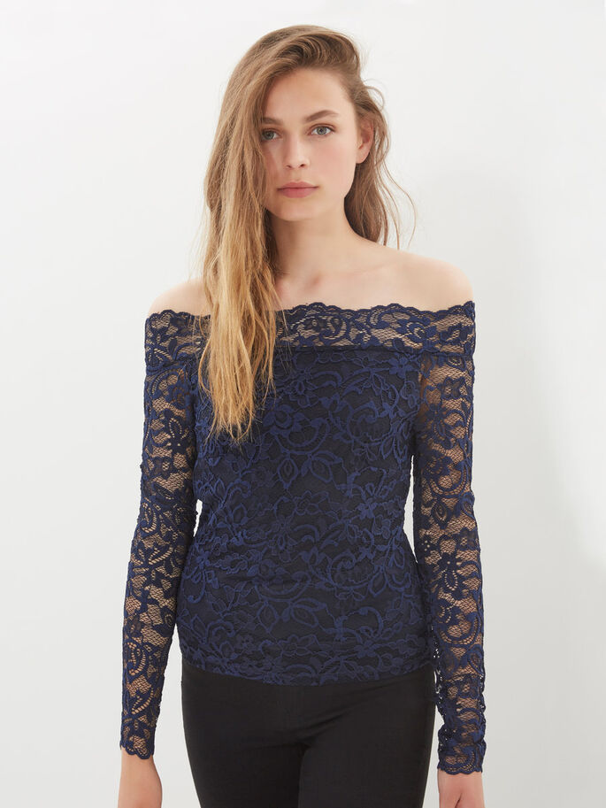 OFF-SHOULDER LACE LONG SLEEVED BLOUSE, Black Iris, large