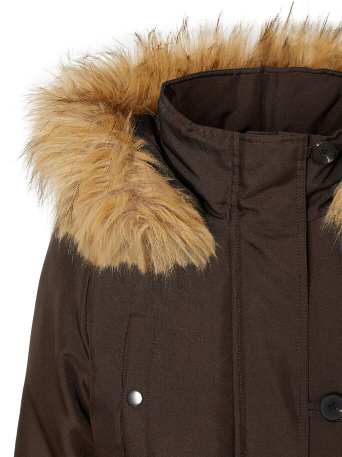 FAUX FUR PARKA COAT, Black Coffee, large