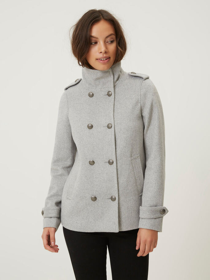 SHORT WOOL JACKET, Light Grey Melange, large