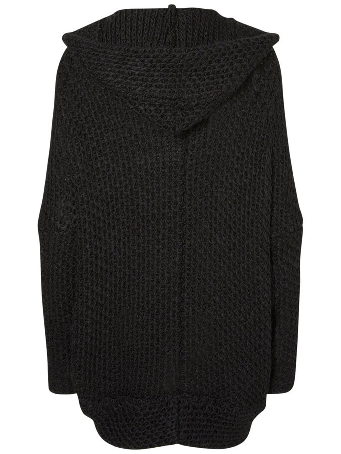 OVERSIZED KNITTED CARDIGAN, Black, large