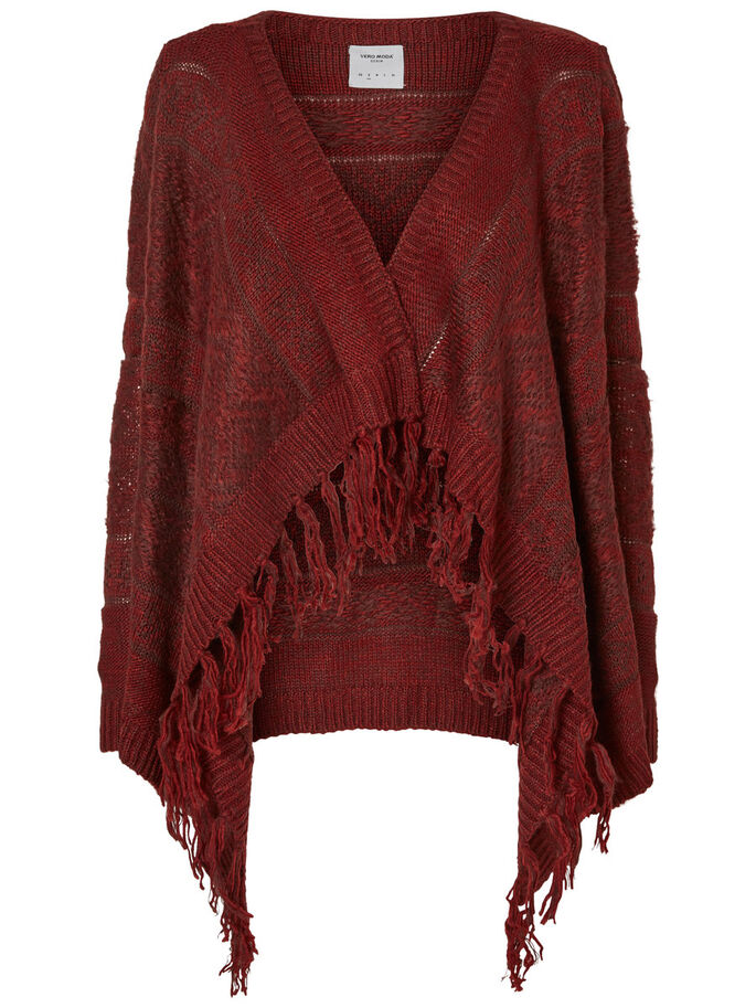 LONG SLEEVED KNITTED CARDIGAN, Decadent Chocolate, large