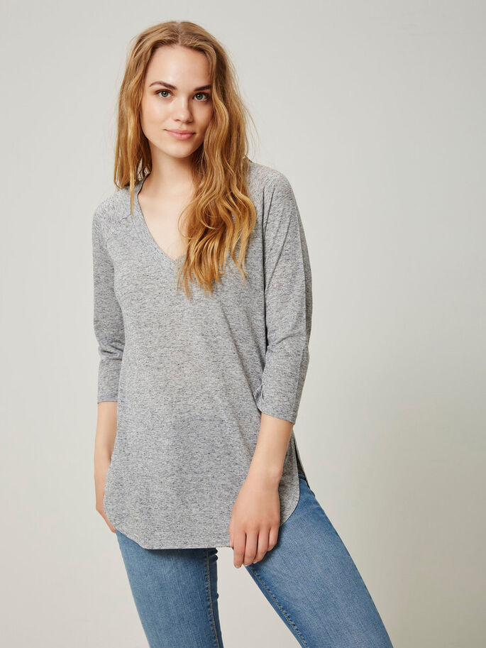 CASUAL 3/4 SLEEVED TOP, Light Grey Melange, large