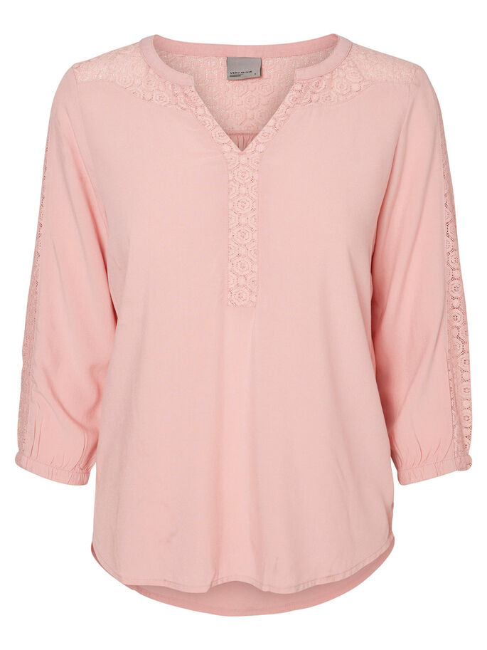 BLONDE BLUSE MED 3/4 ERMER, Bridal Rose, large