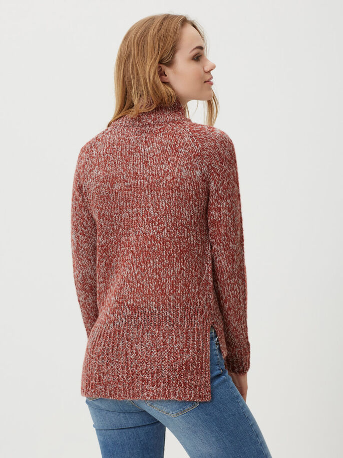 LANGÄRMELIGER STRICKPULLOVER, Fired Brick, large