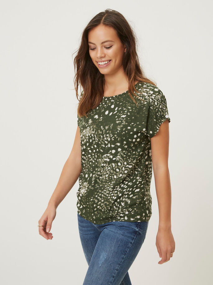 CASUAL SHORT SLEEVED TOP, Kombu Green, large