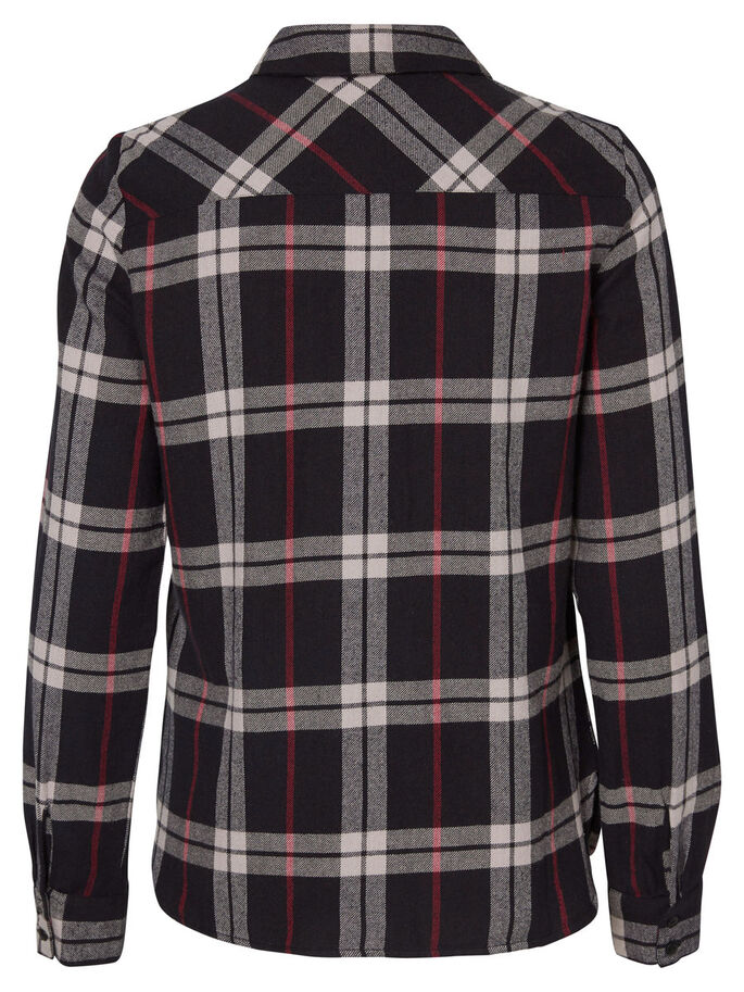 CHEQUERED LONG SLEEVED SHIRT, Black, large