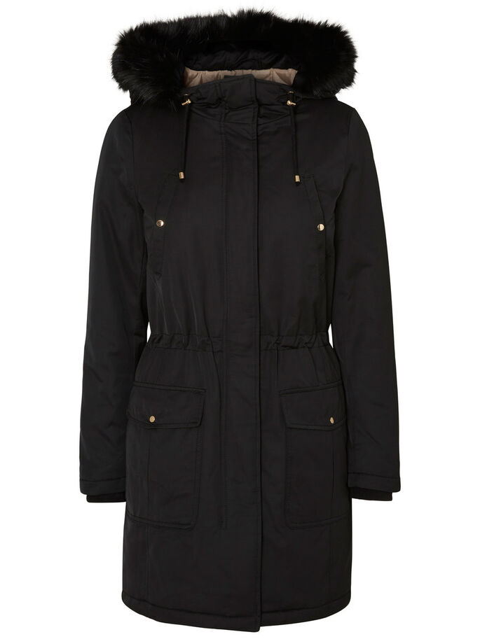 WINTER PARKA COAT, Black, large