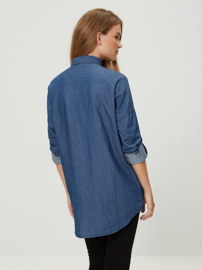 OVERSIZED LONG SLEEVED SHIRT, Medium Blue Denim, large
