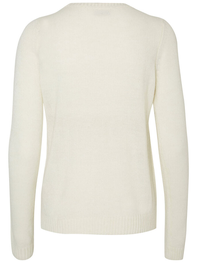 LANGERMET STRIKKET PULLOVER, Snow White, large