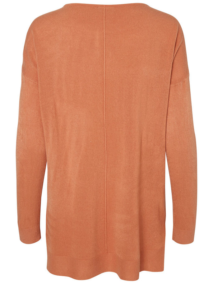 CASUAL STRIKKET PULLOVER, Cedar Wood, large