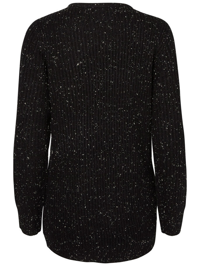 BUTTON KNITTED PULLOVER, Black, large