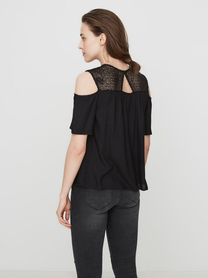 COLD-SHOULDER SHIRT MET KORTE MOUWEN, Black, large