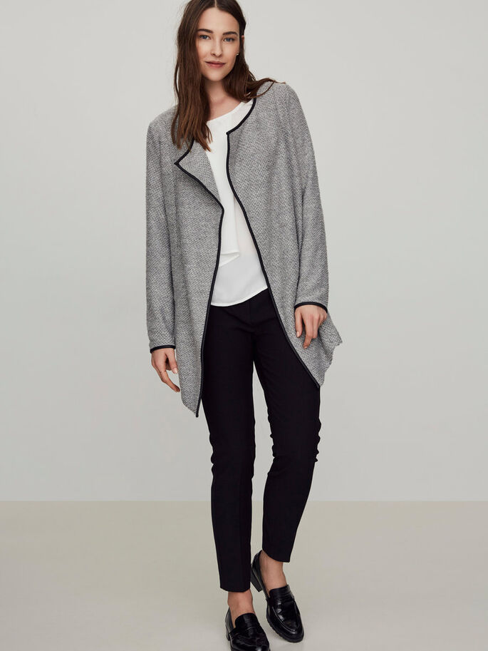 LONG CARDIGAN, Light Grey Melange, large