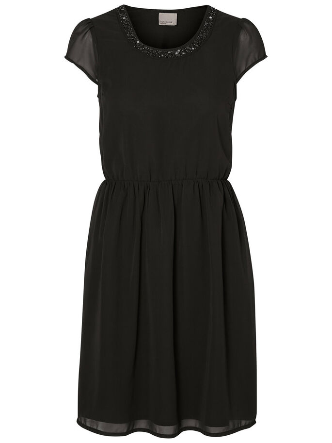 SHORT SLEEVED PARTY DRESS, Black, large