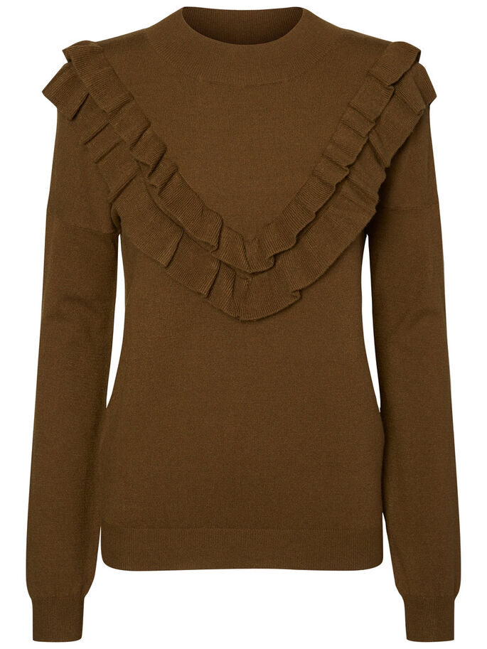 FEMININE LONG SLEEVED BLOUSE, Dark Olive, large