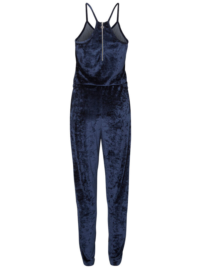 SLEEVELESS VELVET JUMPSUIT, Black Iris, large
