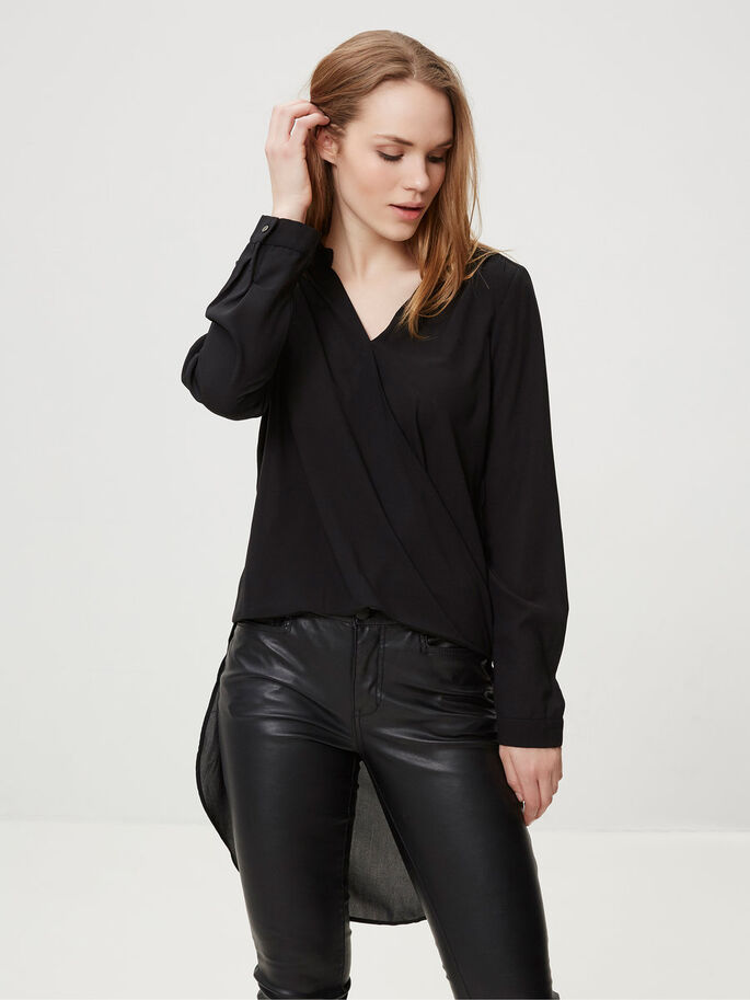WOVEN LONG SLEEVED TOP, Black, large