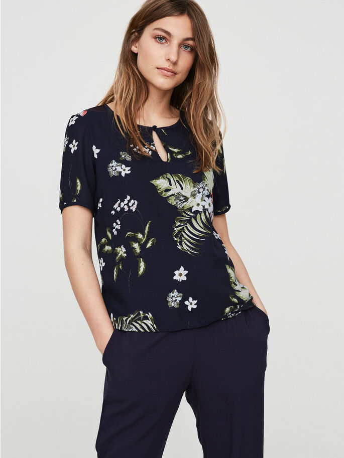 FLOWER SHORT SLEEVED TOP, Navy Blazer, large