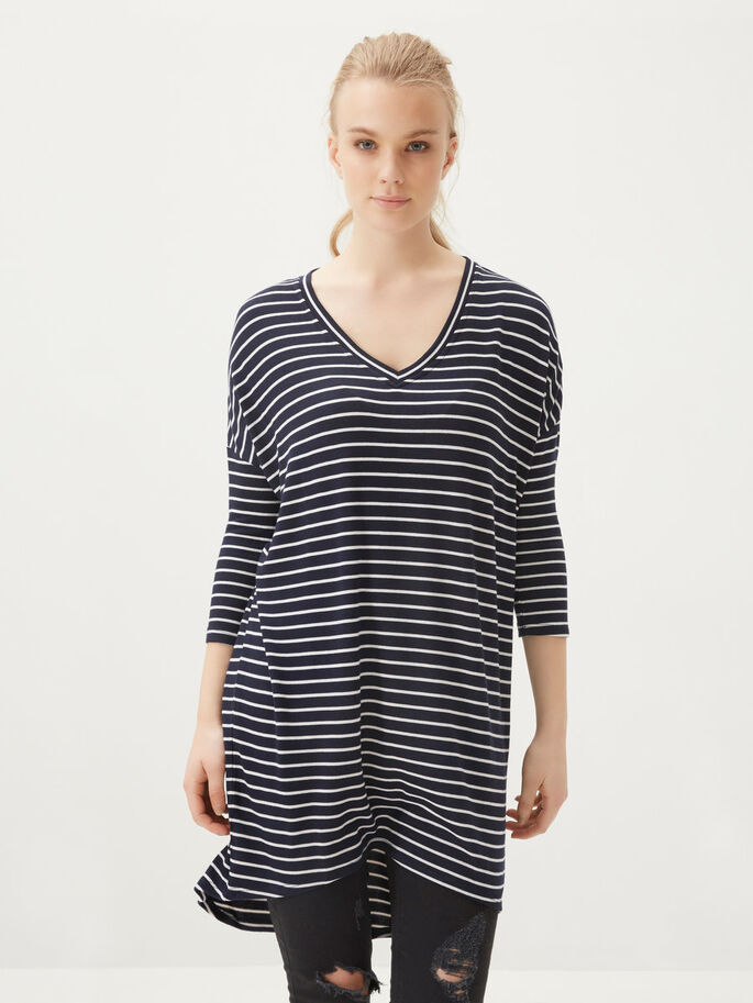 STRIPED 3/4 SLEEVED TOP, Total Eclipse, large