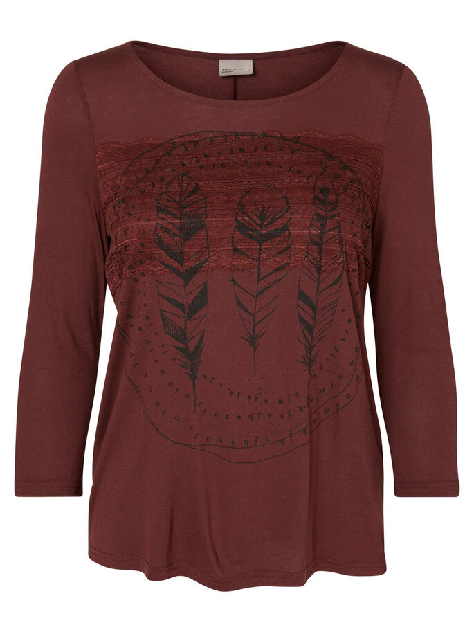CASUAL TOP MET 3/4 MOUWEN, Decadent Chocolate, large